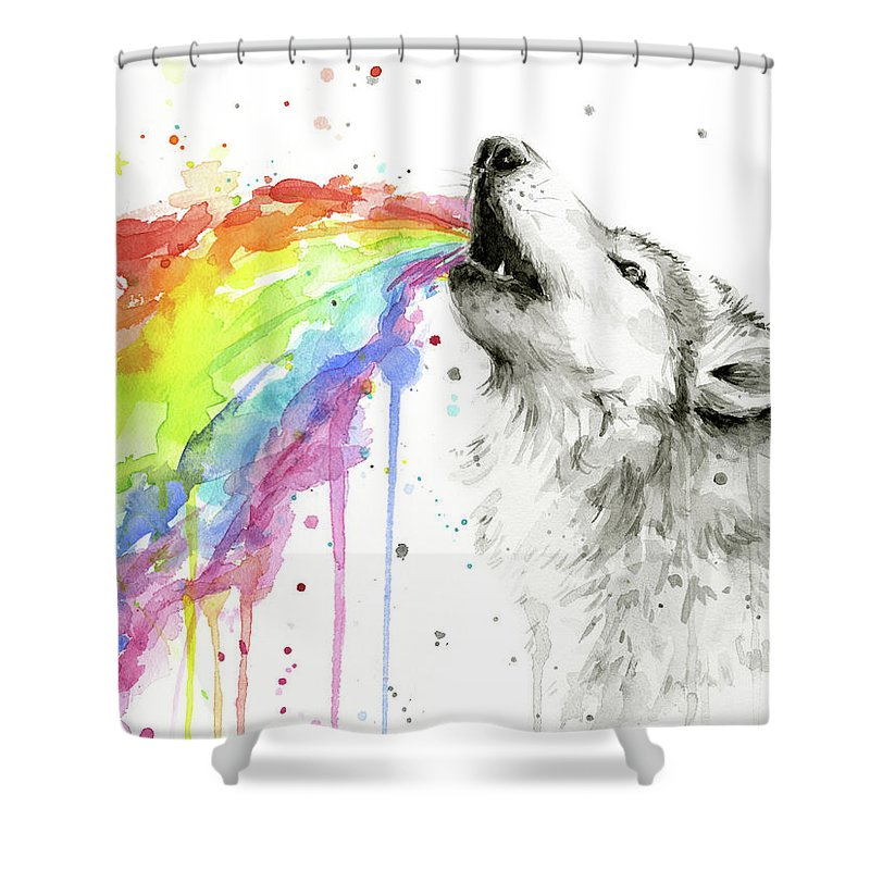 Watercolor Shower Curtain Featuring The Painting Wolf And Rainbow By Olga Shvartsur
