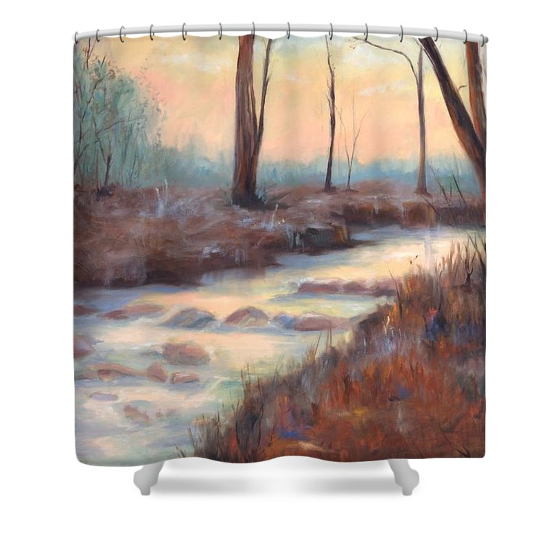 Creeks Shower Curtain featuring the painting Wolf Creek by Ginger Concepcion