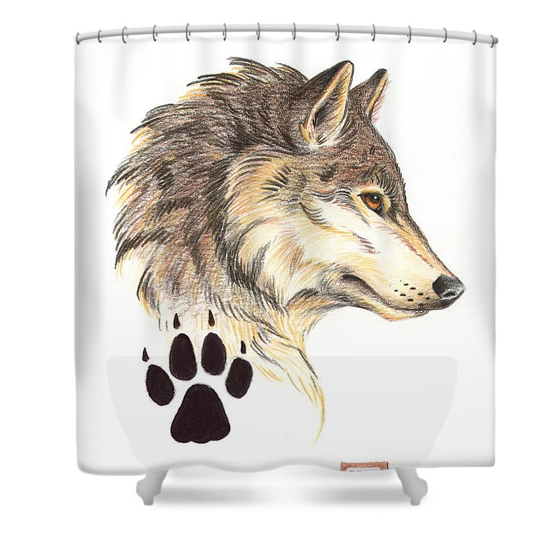 Wolf Shower Curtain featuring the painting Wolf Head Profile by Melissa A Benson