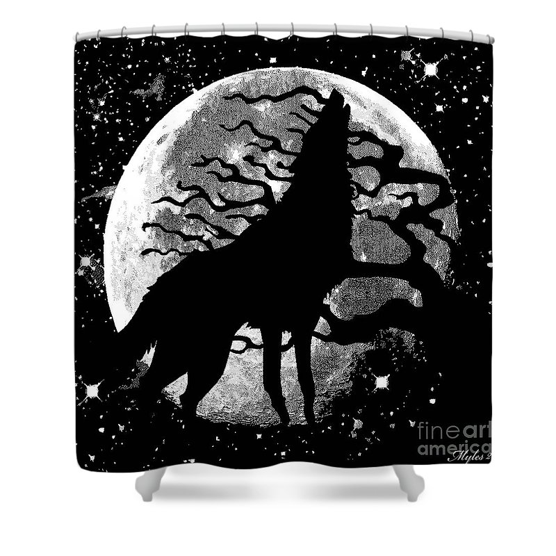 Wolf Shower Curtain Featuring The Painting Moon Stars By Saundra Myles