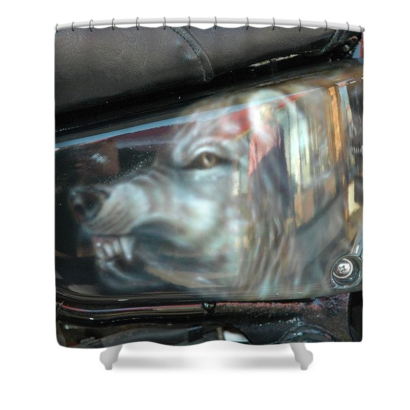 Shower Curtain featuring the painting Wolf Motorcycle Side Panel by Wayne Pruse