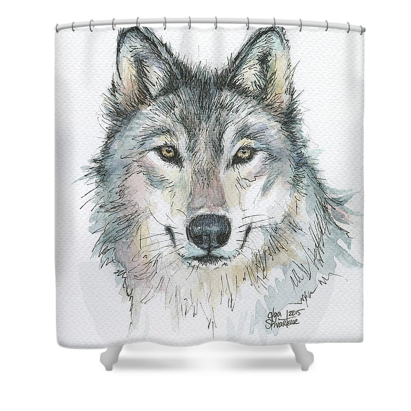 Watercolor Shower Curtain featuring the painting Wolf by Olga Shvartsur
