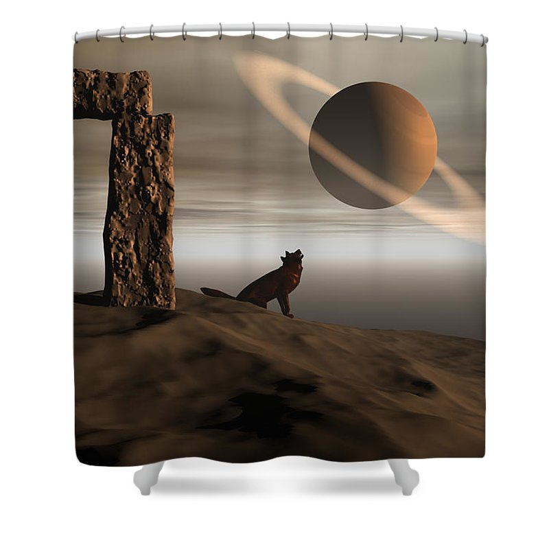 Bryce Shower Curtain featuring the digital art Wolf Song by Claude McCoy