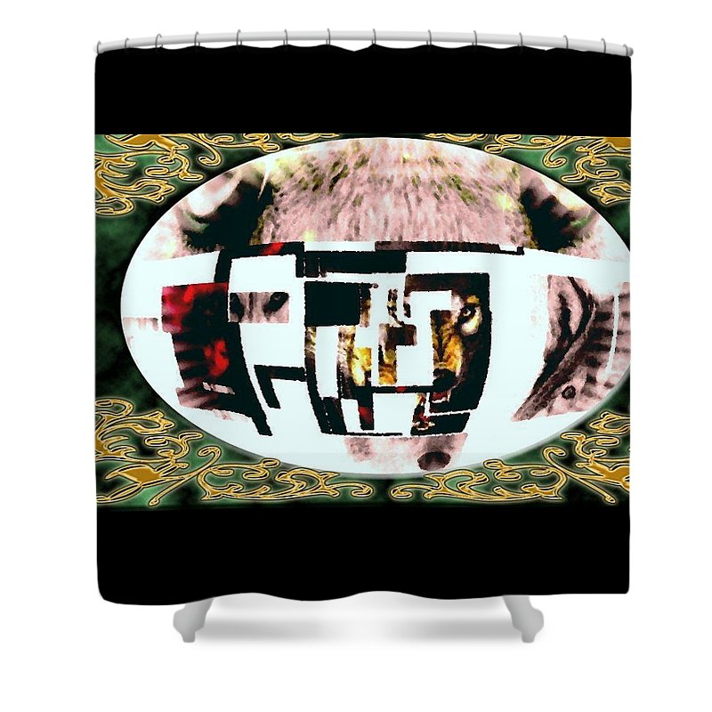 Wolf Shower Curtain featuring the mixed media Wolfman by Kim Rahal