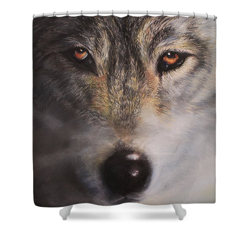 Wolf Shower Curtain featuring the painting Wolfrick by Linda Woodward
