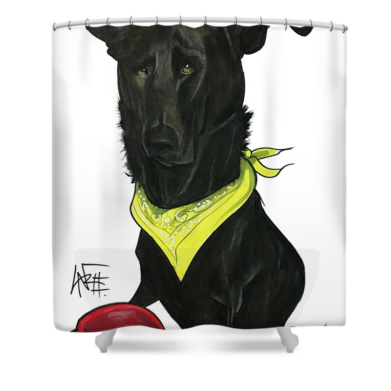Pet Portrait Shower Curtain featuring the drawing Womack 3291 Charlie by John LaFree