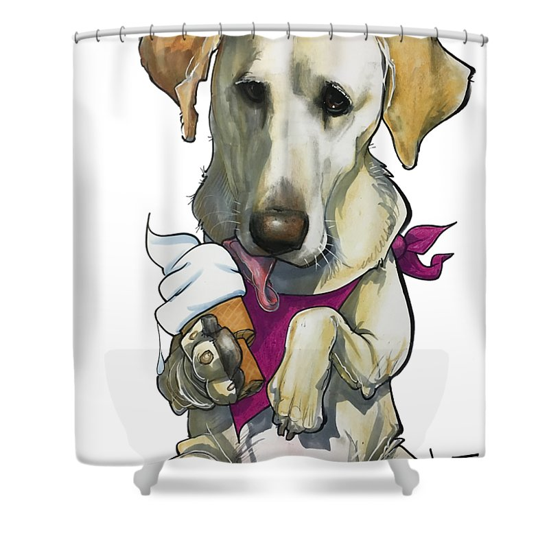Pet Portrait Shower Curtain featuring the drawing Womack 3291 Trina-k by John LaFree