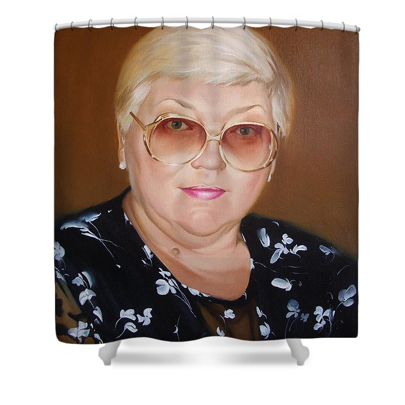 Art Shower Curtain featuring the painting Woman 1 by Sergey Ignatenko