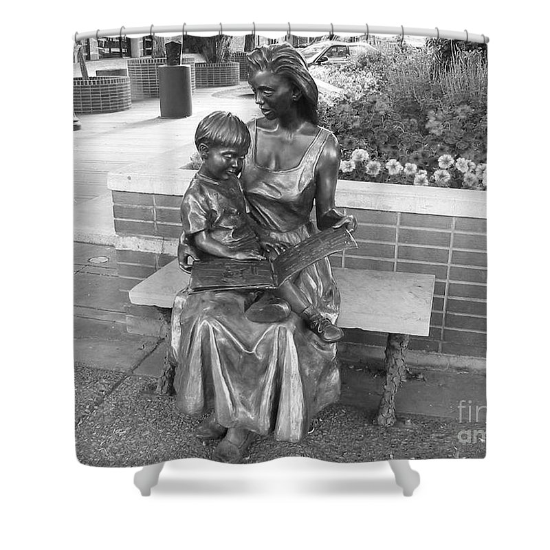 Woman And Child Sculpture Grand Junction Shower Curtain featuring the photograph Woman And Child Sculpture Grand Junction Co by Tommy Anderson