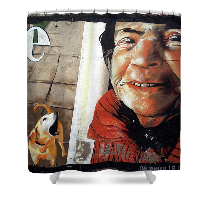 Graffitis Shower Curtain featuring the photograph Woman And Dog by Roger Muntes
