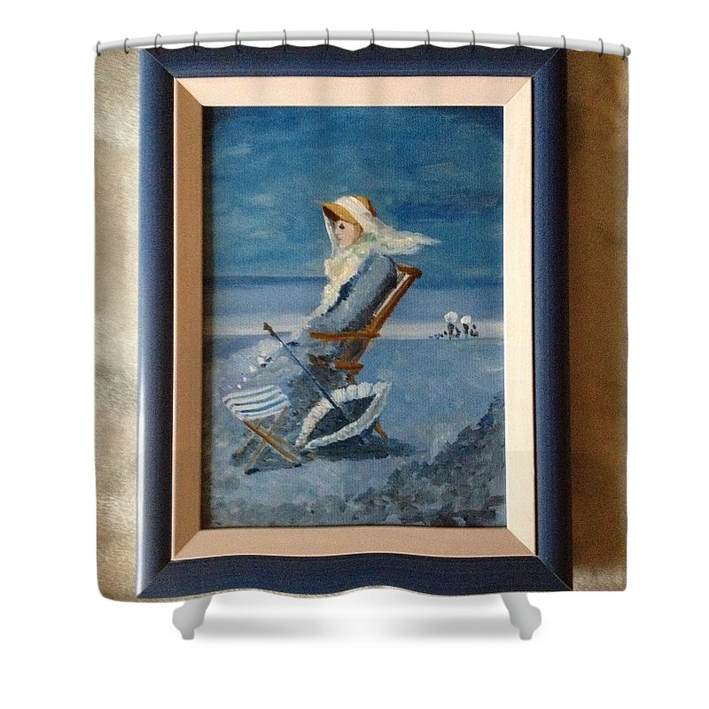 Woman At The Beach Grigorescu Blue Chair Umbrella Xixth Century Shower Curtain featuring the painting Woman At The Beach by Costin Tudor