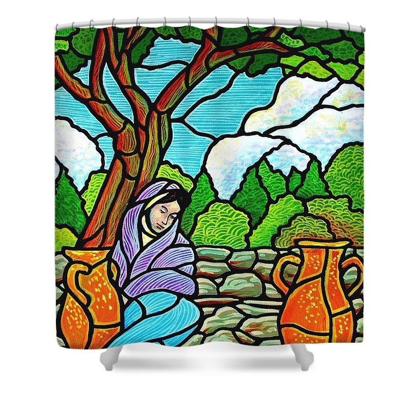 Women Shower Curtain featuring the painting Woman At The Well by Jim Harris