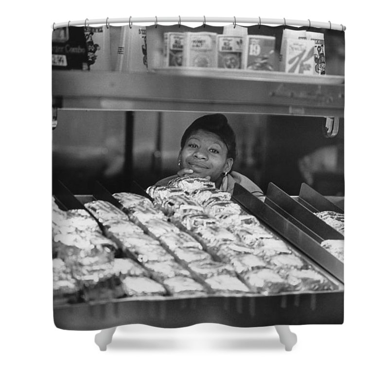 Smile Shower Curtain featuring the photograph Woman Behind Fast Food Counter by Matt Plyler