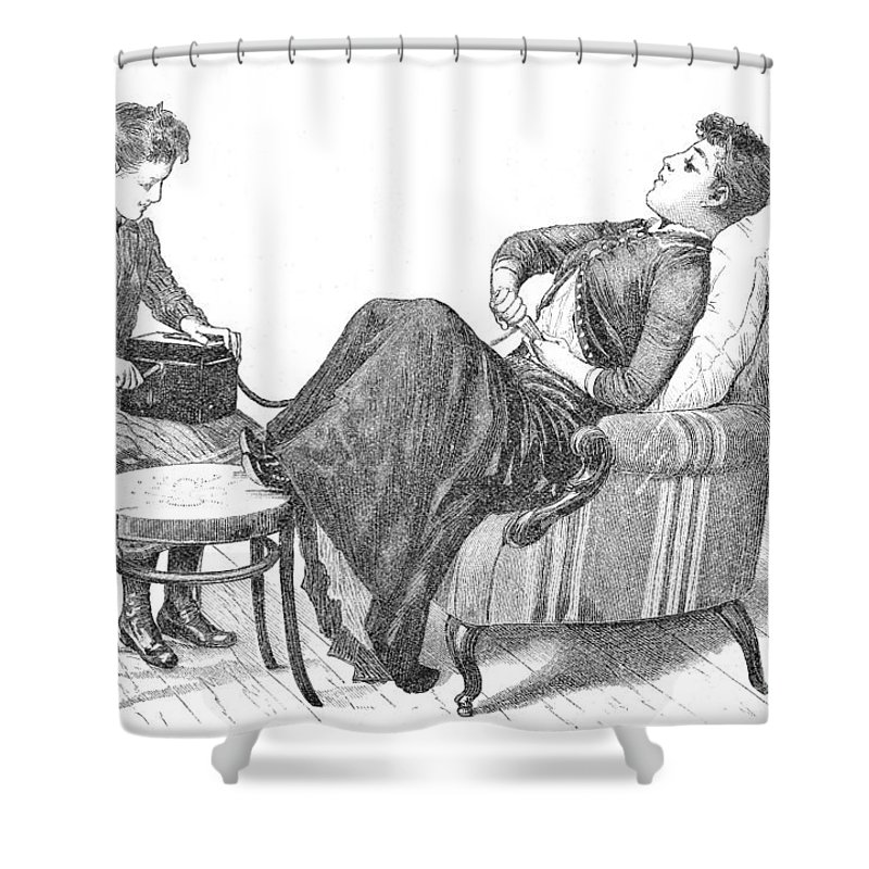 Historic Shower Curtain Featuring The Photograph Woman Demonstrating Medical Vibrator By Wellcome Images