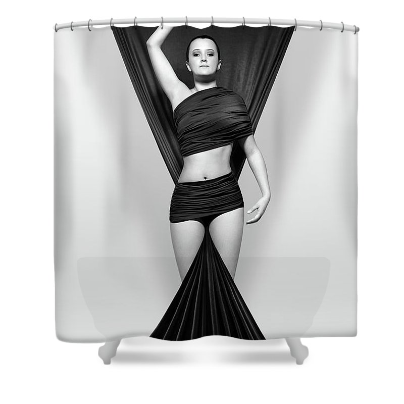 Woman Draped In Black Cloth Shower Curtain For Sale By Johan Swanepoel