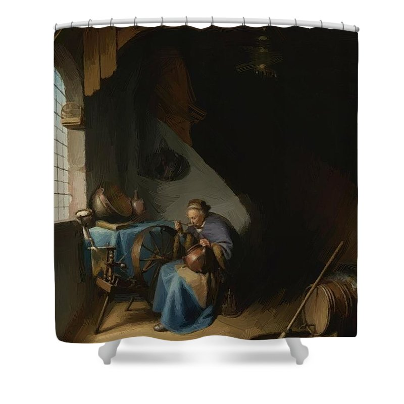 Woman Shower Curtain featuring the painting Woman Eating Porridge by Dou Gerrit