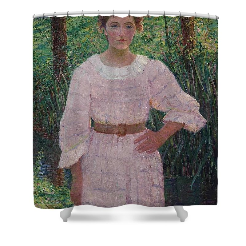 Lilla Cabot Perry (1848-1933) By The Brook Shower Curtain featuring the painting Woman In Pink Dress by Cabot Perry