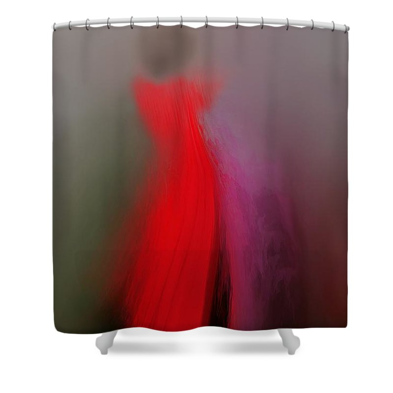 Digital Art Shower Curtain featuring the digital art Woman In Red 2 by Clare Iacobelli
