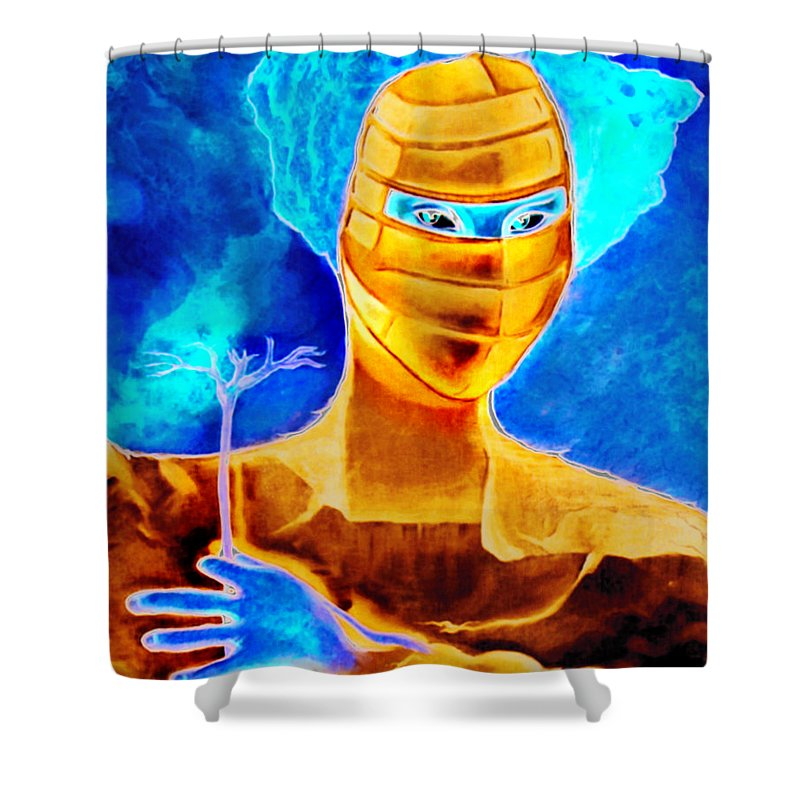 Blue Woman Mask Mistery Eyes Shower Curtain featuring the painting Woman In The Blue Mask by Veronica Jackson