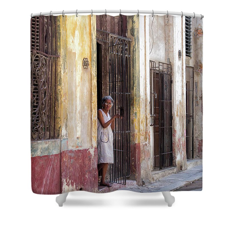 Cuba Shower Curtain featuring the photograph Woman In The Door by Jean Phleger