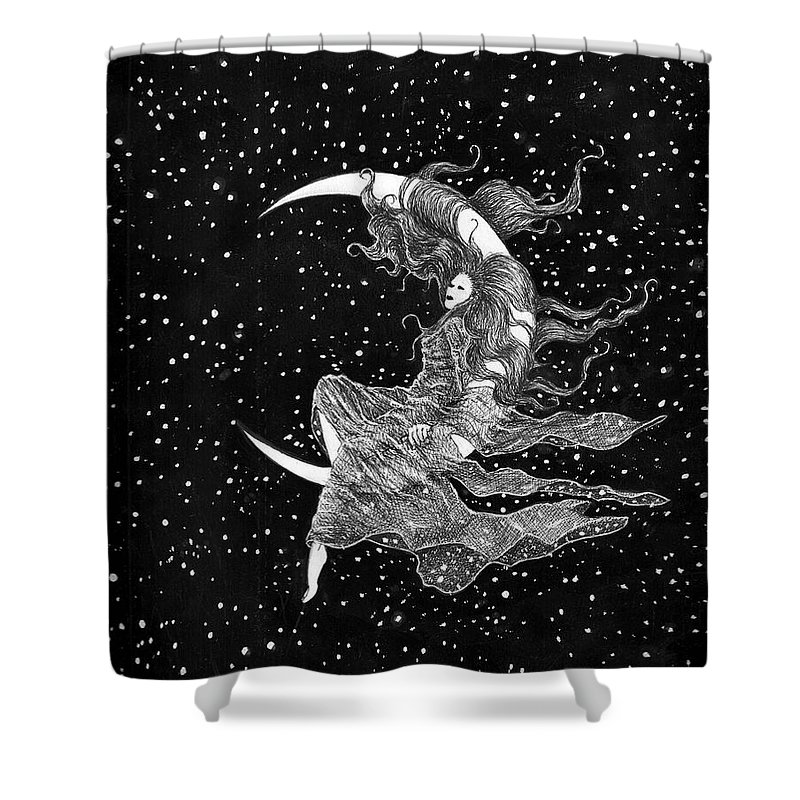Moon Space Art Stars Bruce Lennon Art Shower Curtain featuring the painting Woman In The Moon by Bruce Lennon