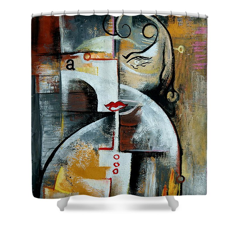 Newspaper Shower Curtain featuring the painting Woman by Kim Gauge