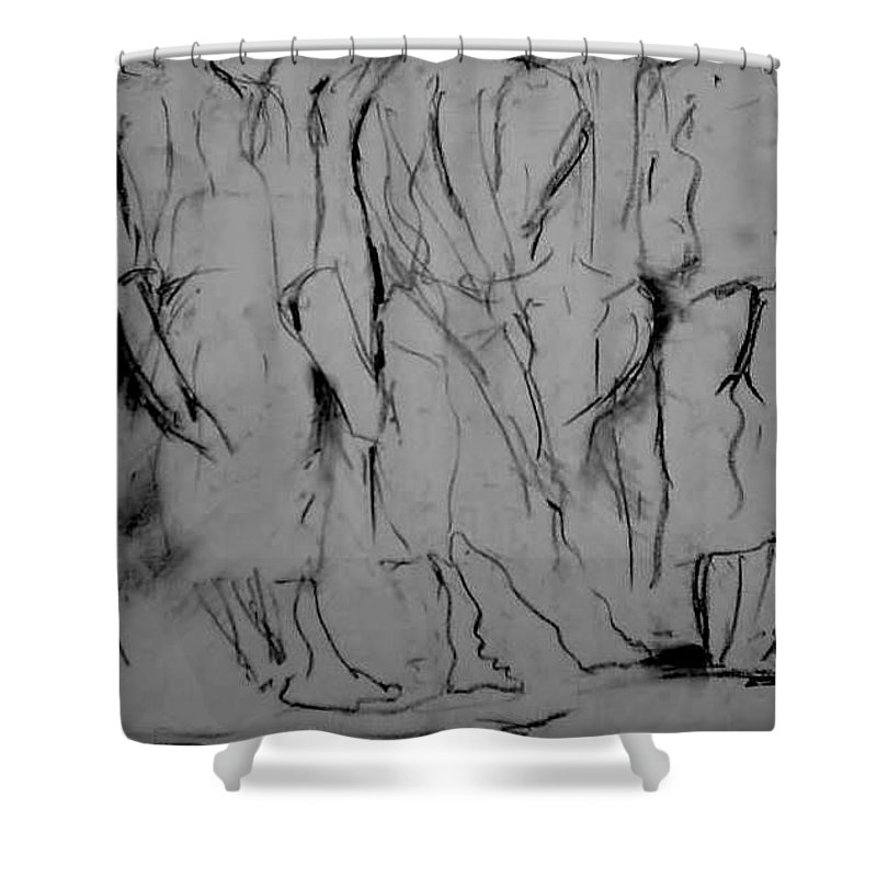 Visual Music Abstract Drawing; Graphite; Figurative; Drawing; Women; Expressive Art Shower Curtain featuring the drawing Woman Moving by Arlene Rabinowitz