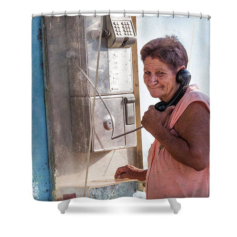 Shower Curtain featuring the photograph Woman On The Phone by Jean Phleger