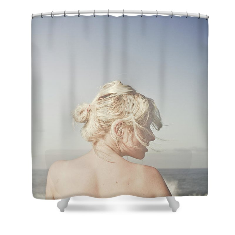 People Shower Curtain featuring the photograph Woman Relaxing On The Beach by Jorgo Photography - Wall Art Gallery