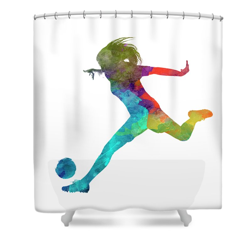 Soccer Shower Curtain Featuring The Painting Woman Player 01 In Watercolor By Pablo Romero