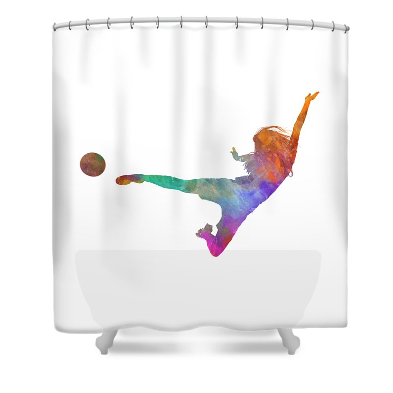 Soccer Shower Curtain Featuring The Painting Woman Player 02 In Watercolor By Pablo Romero