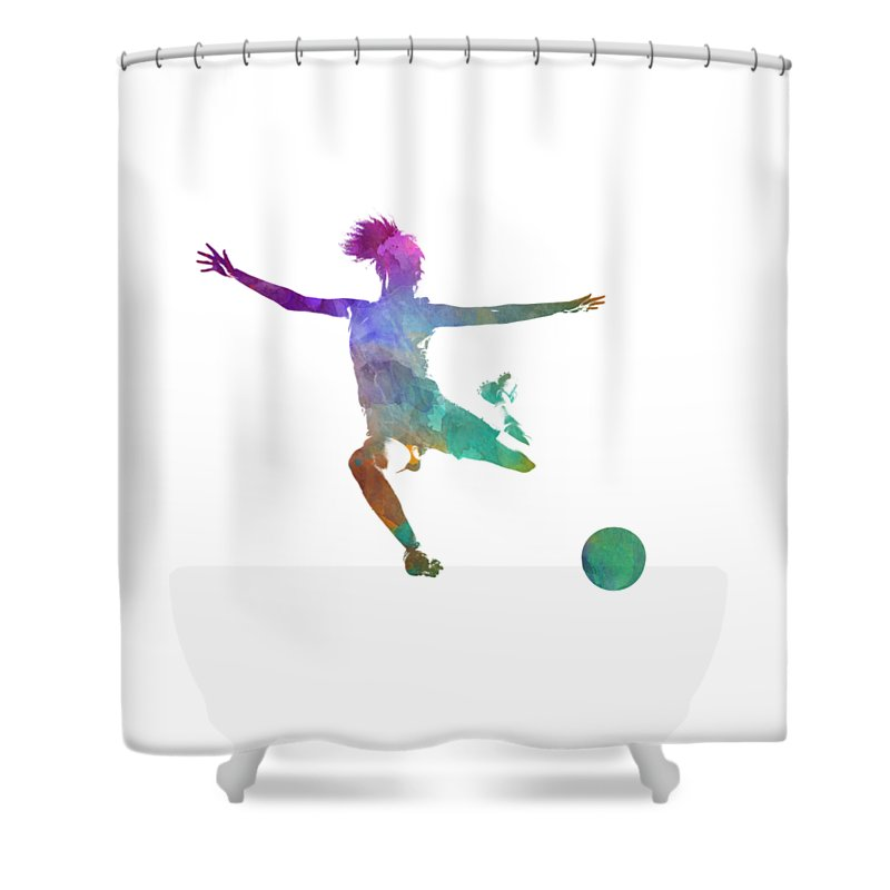 Soccer Shower Curtain Featuring The Painting Woman Player 03 In Watercolor By Pablo Romero