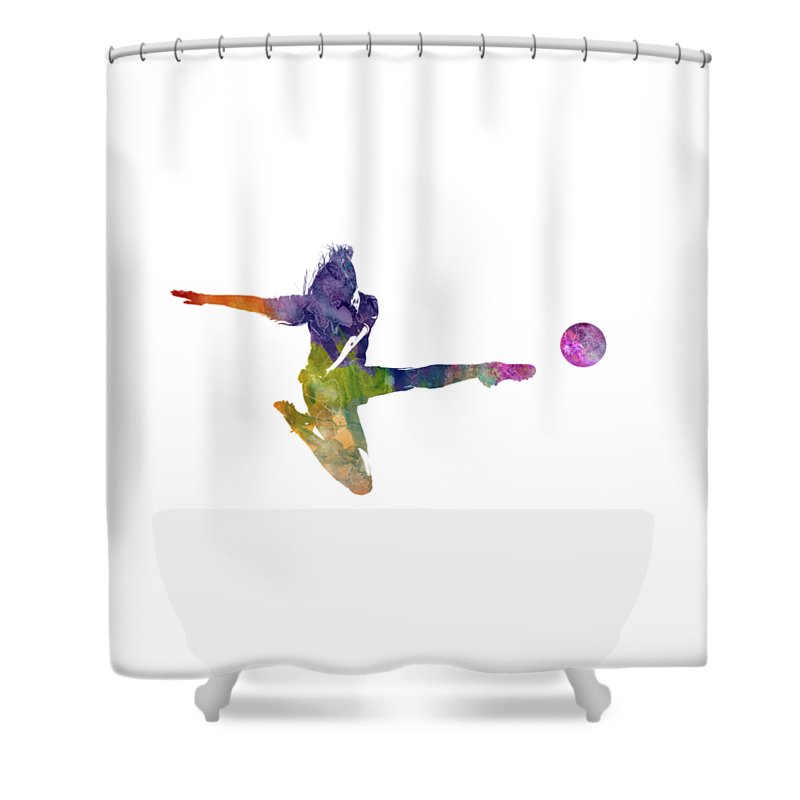 Woman Soccer Player 04 In Watercolor Shower Curtain For Sale By Pablo Romero
