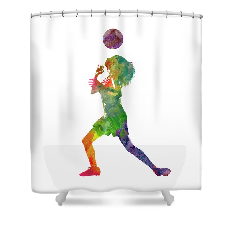 Woman Soccer Player 06 In Watercolor Shower Curtain For Sale By Pablo Romero