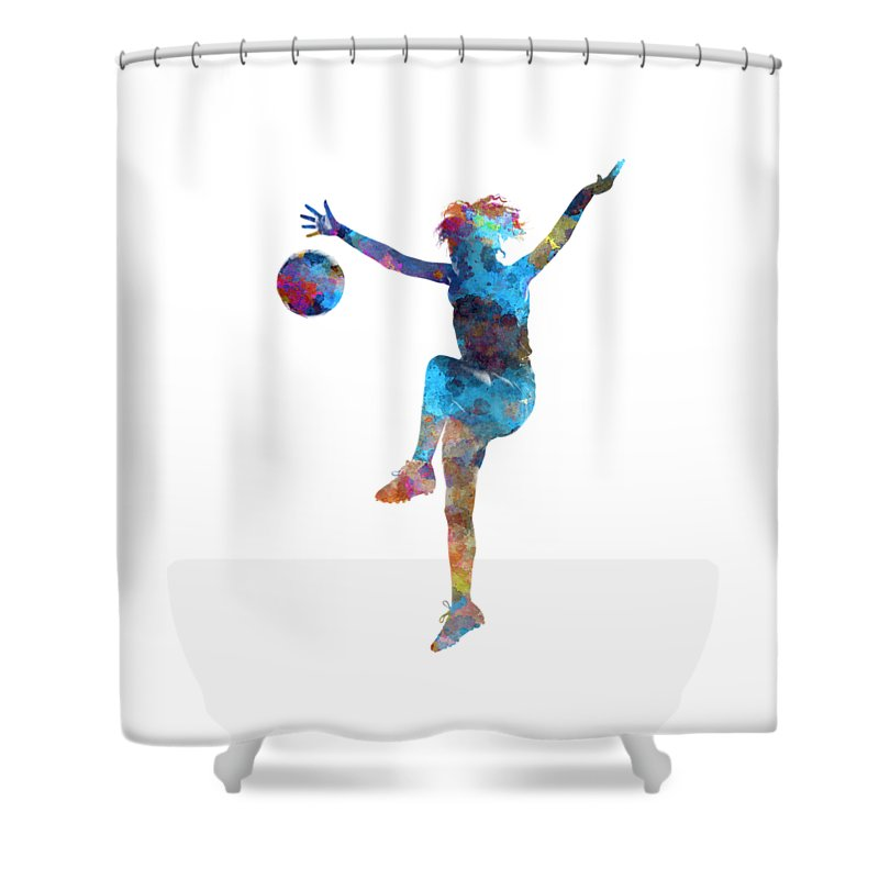 Soccer Shower Curtain Featuring The Painting Woman Player 12 In Watercolor By Pablo Romero