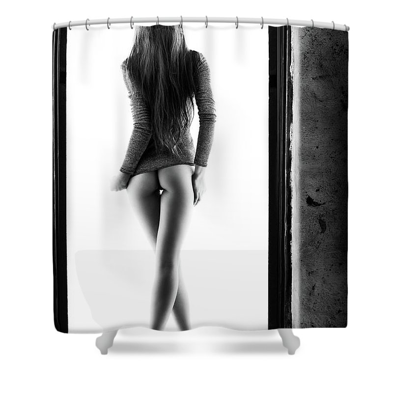 Woman Shower Curtain featuring the photograph Woman standing in doorway by Johan Swanepoel