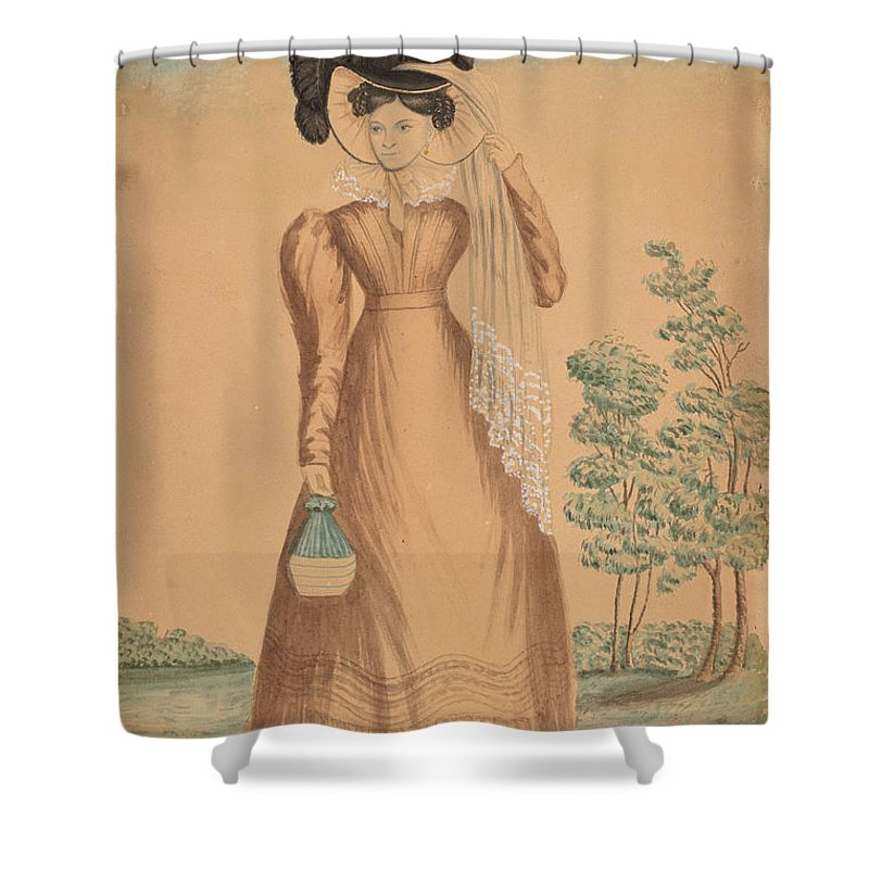 Shower Curtain featuring the drawing Woman With Plumed Hat by American 19th Century