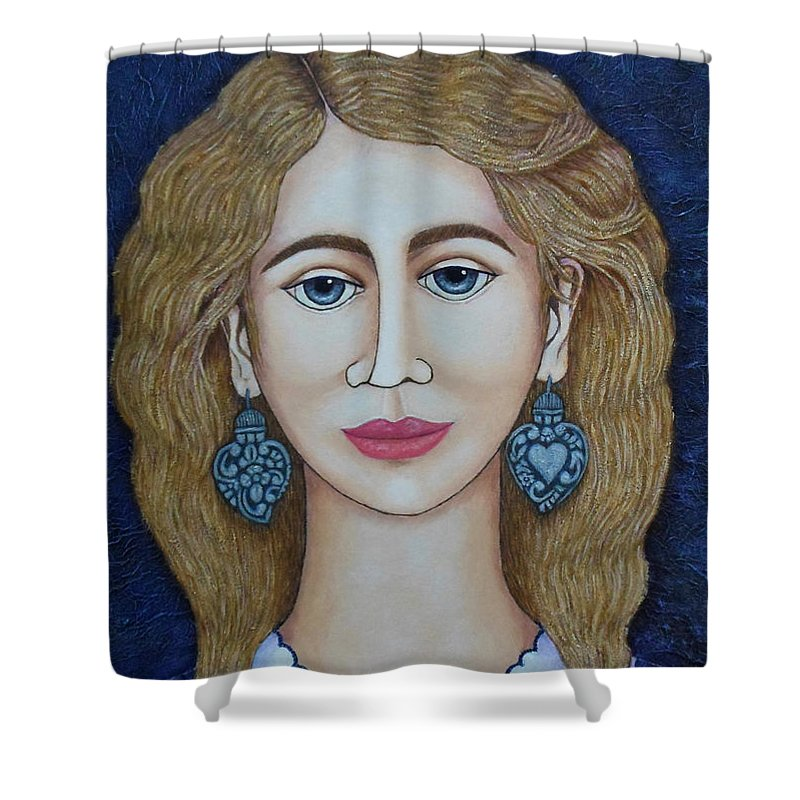 Woman Shower Curtain featuring the painting Woman With Silver Earrings by Madalena Lobao-Tello