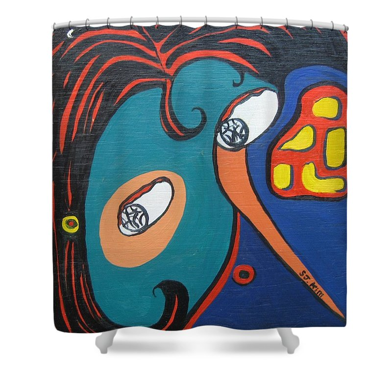 Abstract Paintings Shower Curtain featuring the painting Woman12 by Seon-Jeong Kim