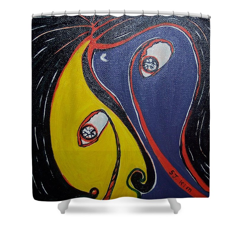 Yellow Paintings Shower Curtain featuring the painting Woman21 by Seon-Jeong Kim