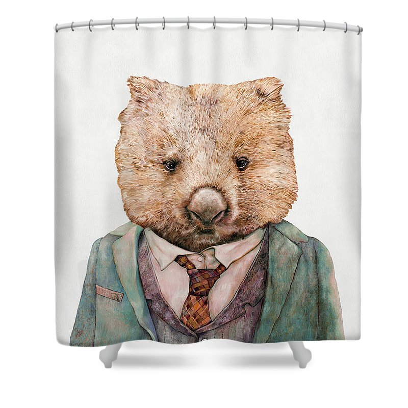 Wombat Shower Curtain featuring the painting Wombat by Animal Crew