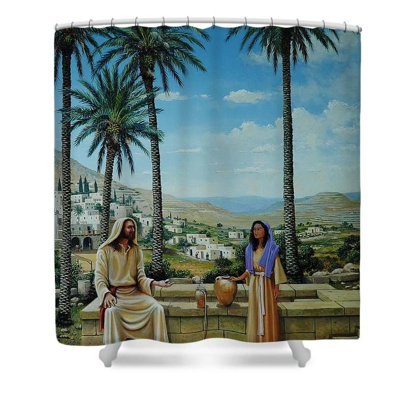 Jesus Shower Curtain featuring the painting Women At The Well by Michael Nowak