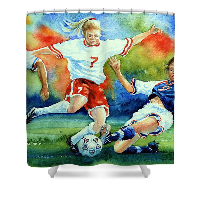 Sports Art Shower Curtain featuring the painting Women by Hanne Lore Koehler