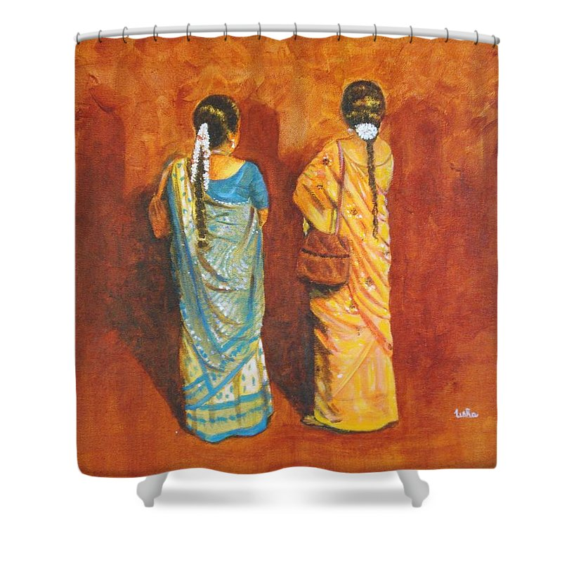 Women Shower Curtain featuring the painting Women In Sarees by Usha Shantharam
