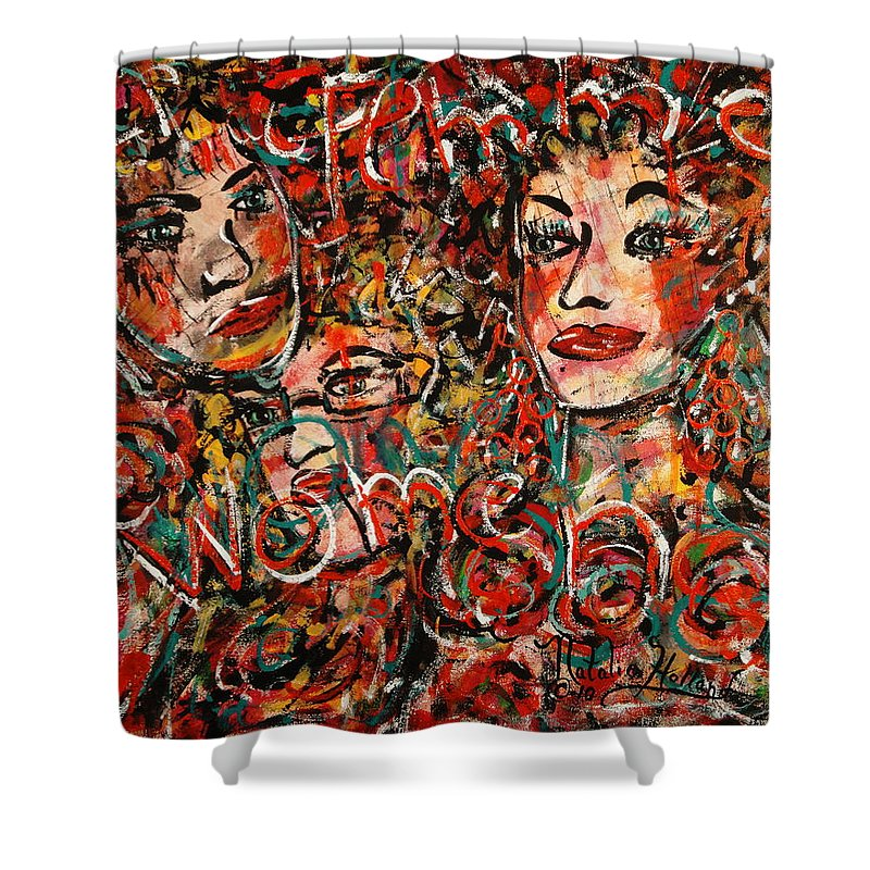 Women Femme Graffiti Shower Curtain featuring the painting Women by Natalie Holland