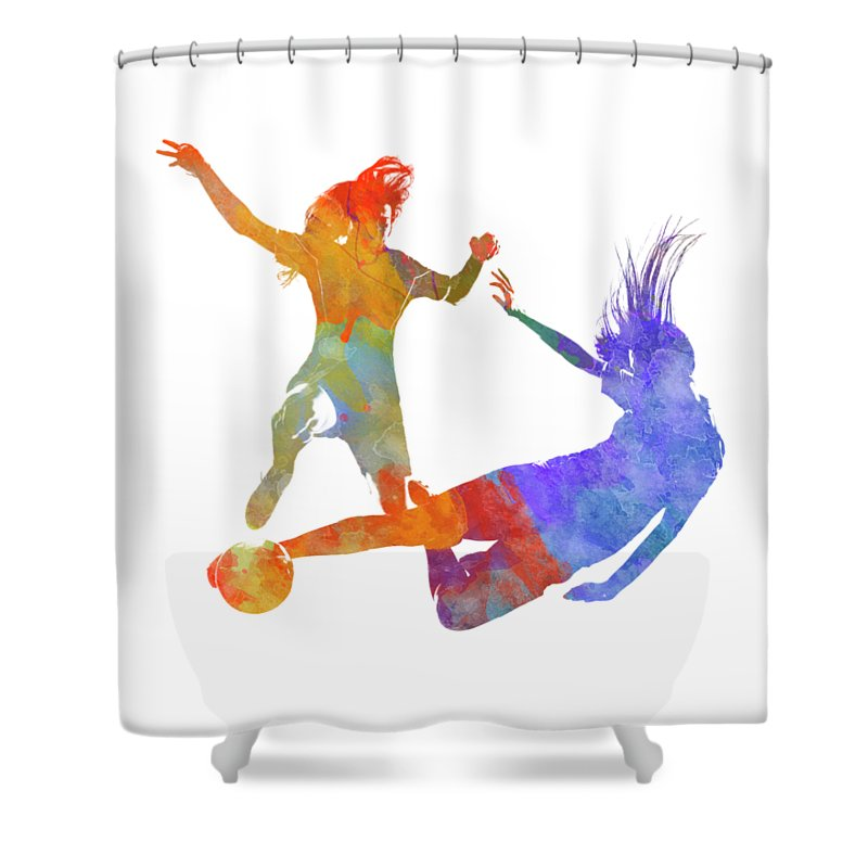 Soccer Shower Curtain Featuring The Painting Women Soccer Players 02 In  Watercolor By Pablo Romero