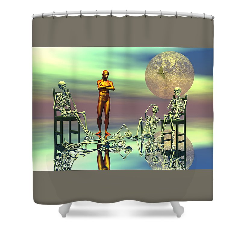 Bryce Shower Curtain featuring the digital art Women Waiting For The Perfect Man by Claude McCoy