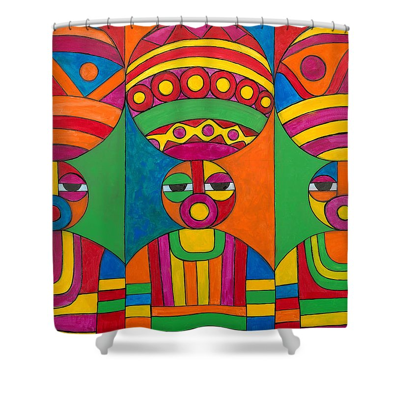 Abstract Shower Curtain featuring the painting Women With Calabashes by Emeka Okoro