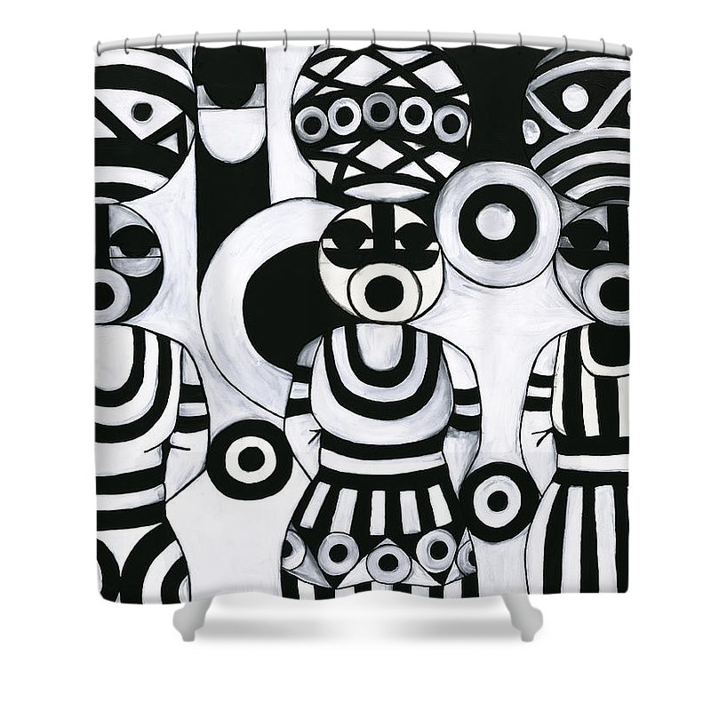 Cubism Shower Curtain featuring the painting Women With Calabashes IIi by Emeka Okoro