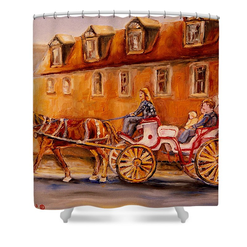 Quebec City Shower Curtain featuring the painting Wonderful Carriage Ride by Carole Spandau